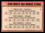 1969 Topps #654   -  Carlos May / Rich Morales / Don Secrist White Sox Rookies   Back Thumbnail