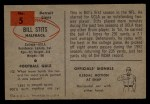 1954 Bowman #5  Bill Stits  Back Thumbnail