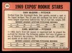 1969 Topps #646   -  Dan McGinn / Carl Morton Expos Rookies Back Thumbnail