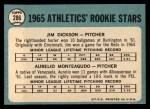 1965 Topps #286   Athletics Rookie Stars  -  Jim Dickson / Aurelio Monteagudo Back Thumbnail