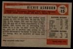 1954 Bowman #15   Richie Ashburn Back Thumbnail