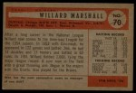 1954 Bowman #70   Willard Marshall Back Thumbnail