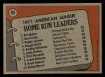 1972 Topps #90  AL HR Leaders    -  Norm Cash / Reggie Jackson / Bill Melton Back Thumbnail
