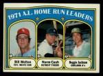 1972 Topps #90  AL HR Leaders    -  Norm Cash / Reggie Jackson / Bill Melton Front Thumbnail