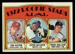 1972 Topps #741  AL - NL Rookies  -  Tom Hutton / Rick Miller / John Milner Front Thumbnail