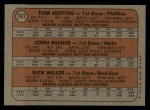 1972 Topps #741  AL - NL Rookies  -  Tom Hutton / Rick Miller / John Milner Back Thumbnail