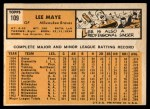 1963 Topps #109  Lee Maye  Back Thumbnail