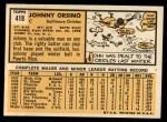 1963 Topps #418  John Orsino  Back Thumbnail