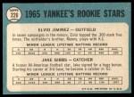 1965 Topps #226   Yankees Rookie Stars  -  Jake Gibbs / Elvio Jimenez Back Thumbnail