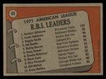 1972 Topps #88  AL RBI Leaders    -  Harmon Killebrew / Frank Robinson / Reggie Smith Back Thumbnail
