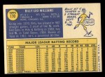 1970 Topps #170  Billy Williams  Back Thumbnail