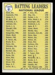 1970 Topps #61  NL Batting Leaders  -  Roberto Clemente / Cleon Jones / Pete Rose Back Thumbnail