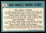 1965 Topps #194  Angels Rookies  -  Bill Kelso / Rick Reichardt Back Thumbnail