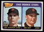 1965 Topps #497  Giants Rookies  -  Ken Henderson / Jack Hiatt Front Thumbnail
