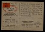 1954 Bowman #94  Bob Fleck  Back Thumbnail