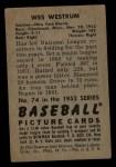 1952 Bowman #74  Wes Westrum  Back Thumbnail