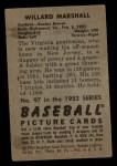 1952 Bowman #97  Willard Marshall  Back Thumbnail
