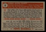 1952 Topps #14 RED Bob Elliott  Back Thumbnail