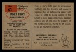 1954 Bowman #61  Jim Finks  Back Thumbnail