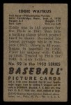 1952 Bowman #92  Eddie Waitkus  Back Thumbnail