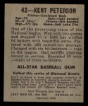 1949 Leaf #42   Kent Peterson Back Thumbnail