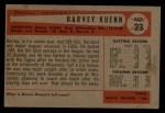 1954 Bowman #23   Harvey Kuenn Back Thumbnail