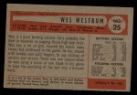 1954 Bowman #25 ALL  Wes Westrum Back Thumbnail