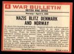 1965 Philadelphia War Bulletin #4  The Invader  Back Thumbnail