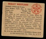 1950 Bowman #69   Wally Westlake Back Thumbnail