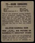 1949 Leaf #72   Hank Edwards Back Thumbnail