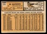 1963 Topps #275  Eddie Mathews  Back Thumbnail