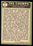 1967 Topps #1  The Champs  -  Frank Robinson / Brooks Robinson / Hank Bauer Back Thumbnail