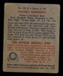 1949 Bowman #192  Harry Gumbert  Back Thumbnail