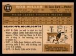 1960 Topps #101   Bob Miller Back Thumbnail