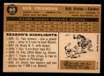1960 Topps #60   Gus Triandos Back Thumbnail