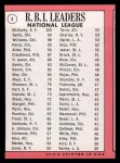 1969 Topps #4  NL RBI Leaders  -  Willie McCovey / Ron Santo / Billy Williams Back Thumbnail