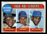 1969 Topps #4  NL RBI Leaders  -  Willie McCovey / Ron Santo / Billy Williams Front Thumbnail