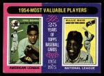 1975 Topps #192  1954 MVPs  -  Yogi Berra / Willie Mays Front Thumbnail