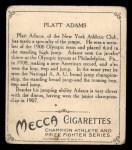 1910 T218 Champions #1   Platt Adams Back Thumbnail