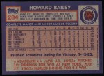 1984 Topps #284  Howard Bailey  Back Thumbnail
