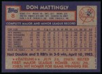 1984 Topps #8   Don Mattingly Back Thumbnail