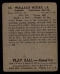 1939 Play Ball #64  Wally Moses  Back Thumbnail