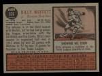 1962 Topps #336   Billy Muffett Back Thumbnail