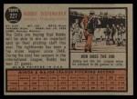 1962 Topps #227  Bob Tiefenauer  Back Thumbnail