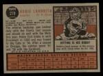 1962 Topps #279 UER Hobie Landrith  Back Thumbnail