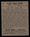 1939 Play Ball #4  Elden Auker  Back Thumbnail