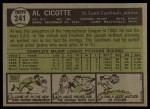 1961 Topps #241   Al Cicotte Back Thumbnail