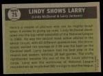 1961 Topps #75  Lindy Shows Larry   -   Larry Jackson / Lindy McDaniel Back Thumbnail
