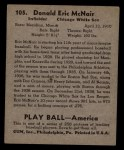 1939 Play Ball #105  Eric McNair  Back Thumbnail