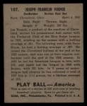 1939 Play Ball #107   Joe Vosmik Back Thumbnail